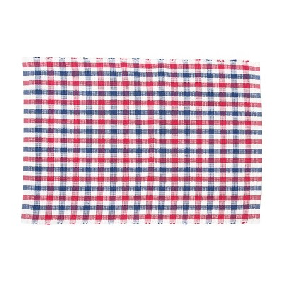 C&F Home Picnic Plaid Cotton Woven Red White and Blue Cotton Woven Placemat Set of 6