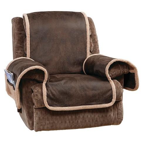 Vintage Leather Recliner Furniture Cover Brown Sure Fit Target