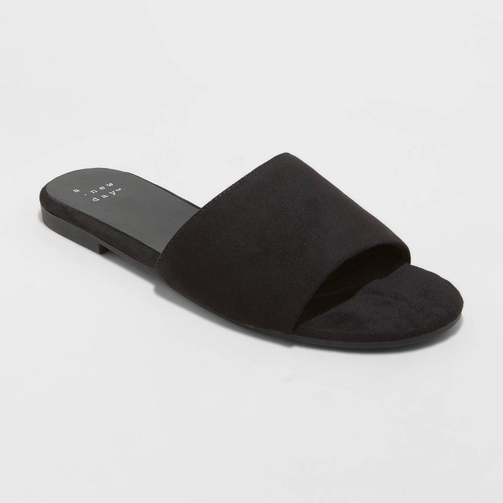 Women 39 S Heidi Wide Width Slide Sandals A New Day 8482 Black 5w