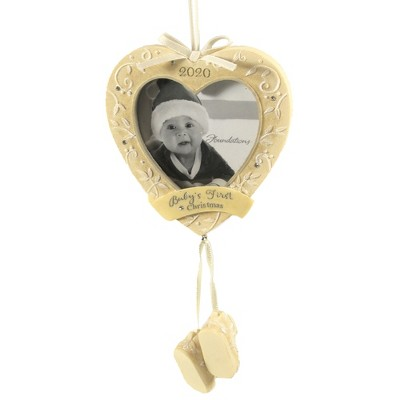 """Foundations 7.0"""" Baby's First Christmas 2020 Dated Photo Frame  -  Tree Ornaments"""