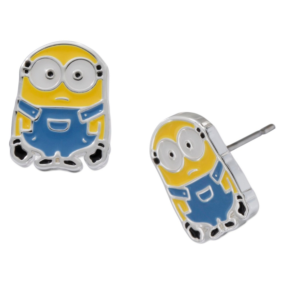 Kid's Universal Silver Plated Minions Bob Stud Earrings, Girl's