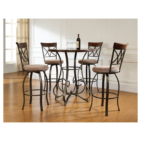 Enjoyable 5Pc Carter Pub Dining Set Metal Tan Cherry Powell Company Short Links Chair Design For Home Short Linksinfo