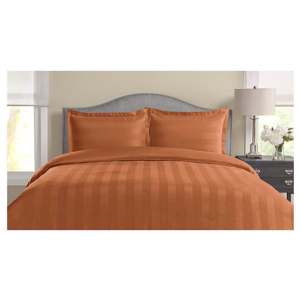 Image of 325tc Tuxedo Woven Stripe 100% Pima Cotton Duvet Set (Full/Queen) Coral (Pink)