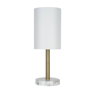 """14"""" Marble Mini Accent Table Lamp (Includes LED Light Bulb) Gold - Cresswell Lighting"""
