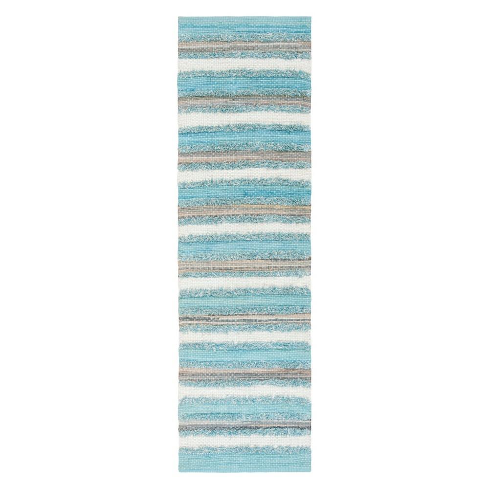 Aqua (Blue) Stripe Woven Runner 2'3X8' - Safavieh