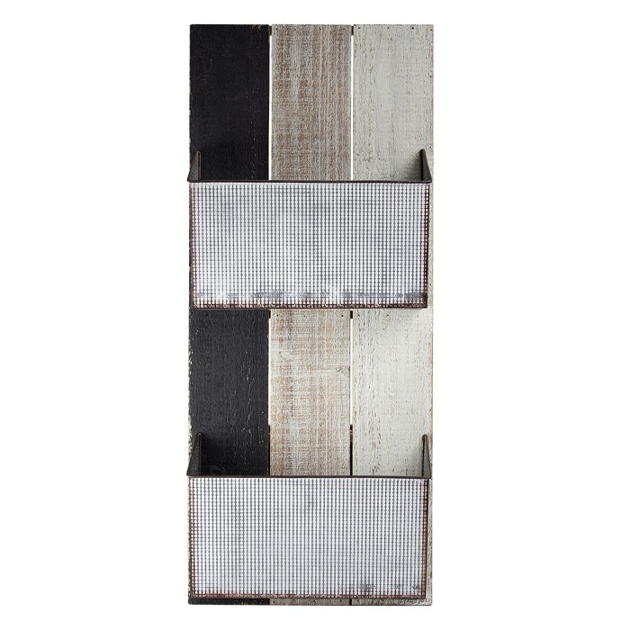 Metal And Wood Wall Double Pocket - E2 Concepts - image 1 of 6