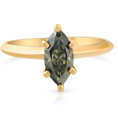 Pompeii3 VS1 1.15CT Marquise Green Diamond Solitaire Engagement Ring 14k Yellow Gold - Size 6.5