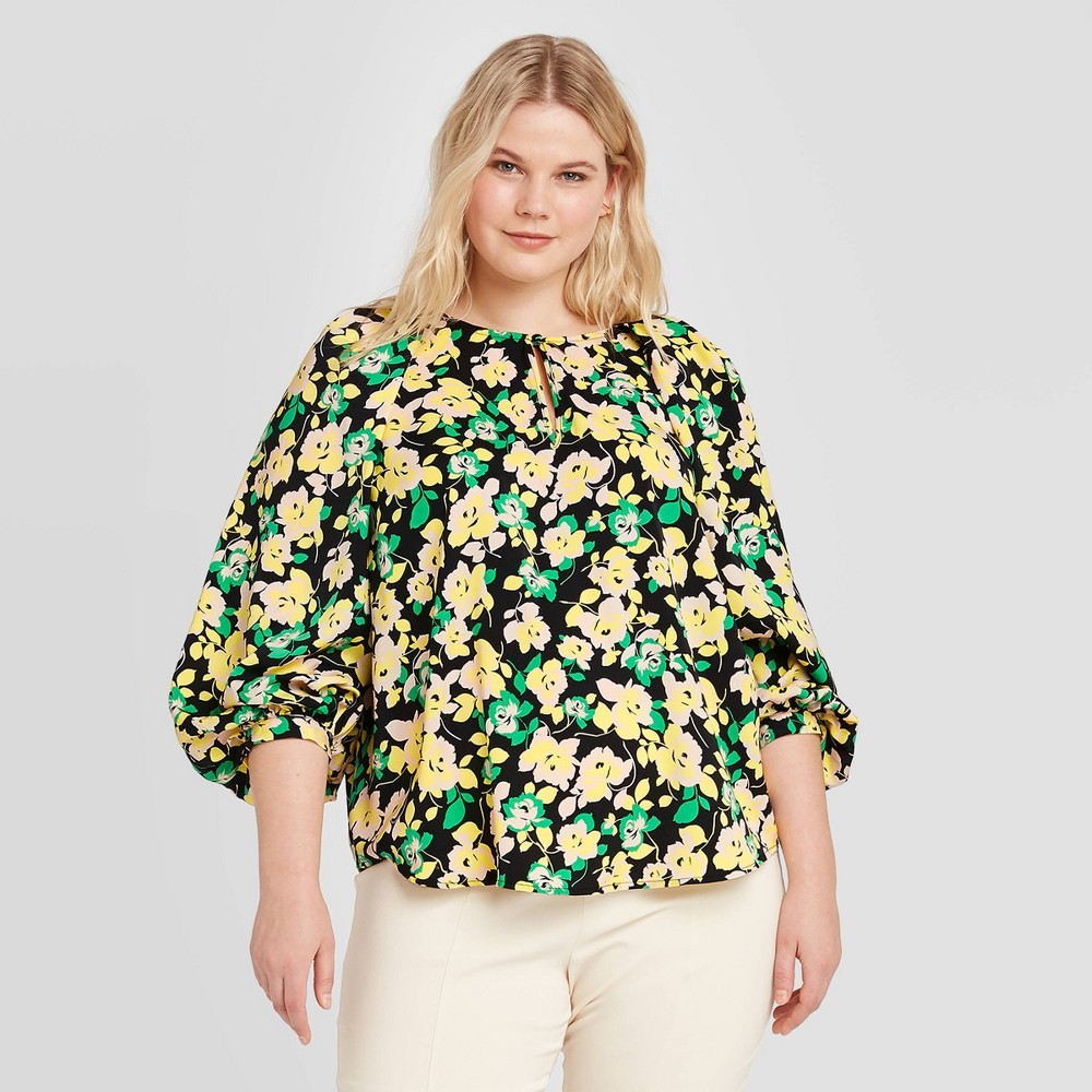 Women's Plus Size Floral Print Balloon Long Sleeve Blouse - Who What Wear Yellow 2X was $27.99 now $16.79 (40.0% off)