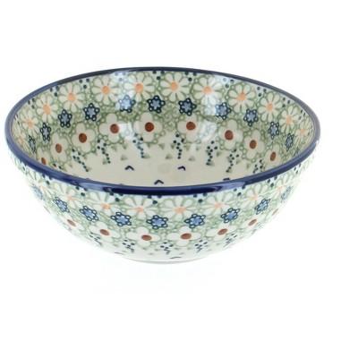 Blue Rose Polish Pottery Green Daisy Cereal Bowl