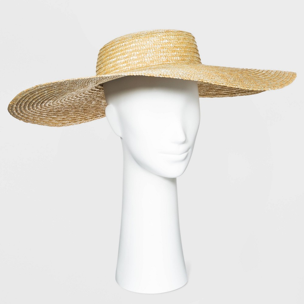 1950s Women's Hat Styles & History Womens Wide Brim Open Weave Straw Boater Hat - A New Day Natural $24.00 AT vintagedancer.com