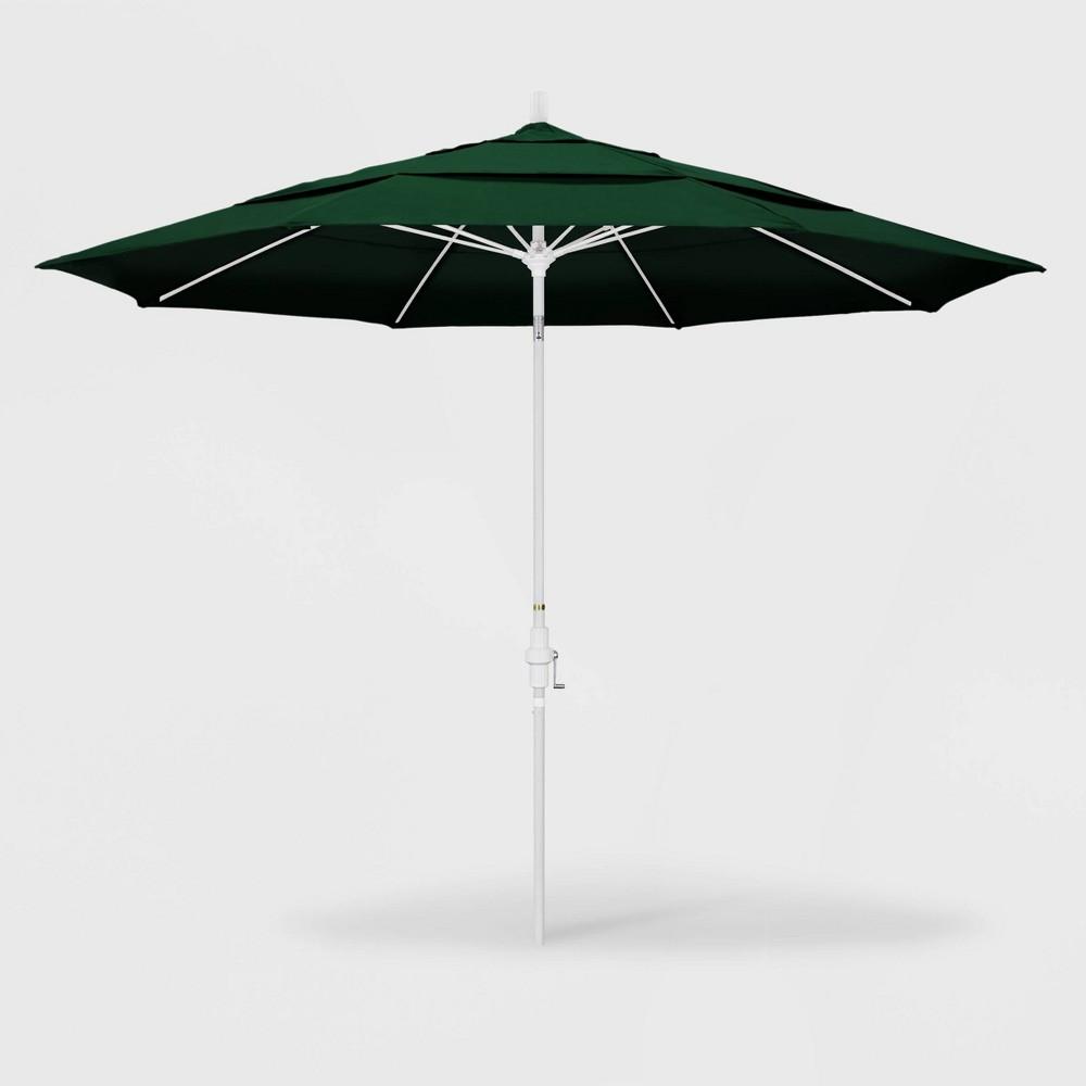 Image of 11' Sun Master Patio Umbrella Collar Tilt Crank Lift - Sunbrella Forest Green - California Umbrella, Green Green