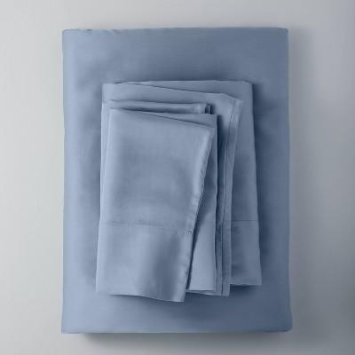 Full 400 Thread Count Washed Lyocell Solid Sheet Set Deep Sky Blue - Casaluna™