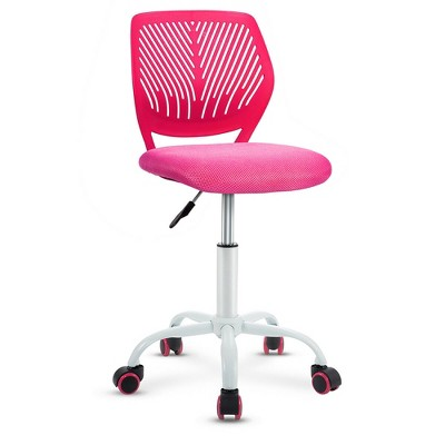 Costway Office Task Desk Armless Chair Adjustable Mid Back Swivel Study Chair Rose\Blue\Turquoise\Purple