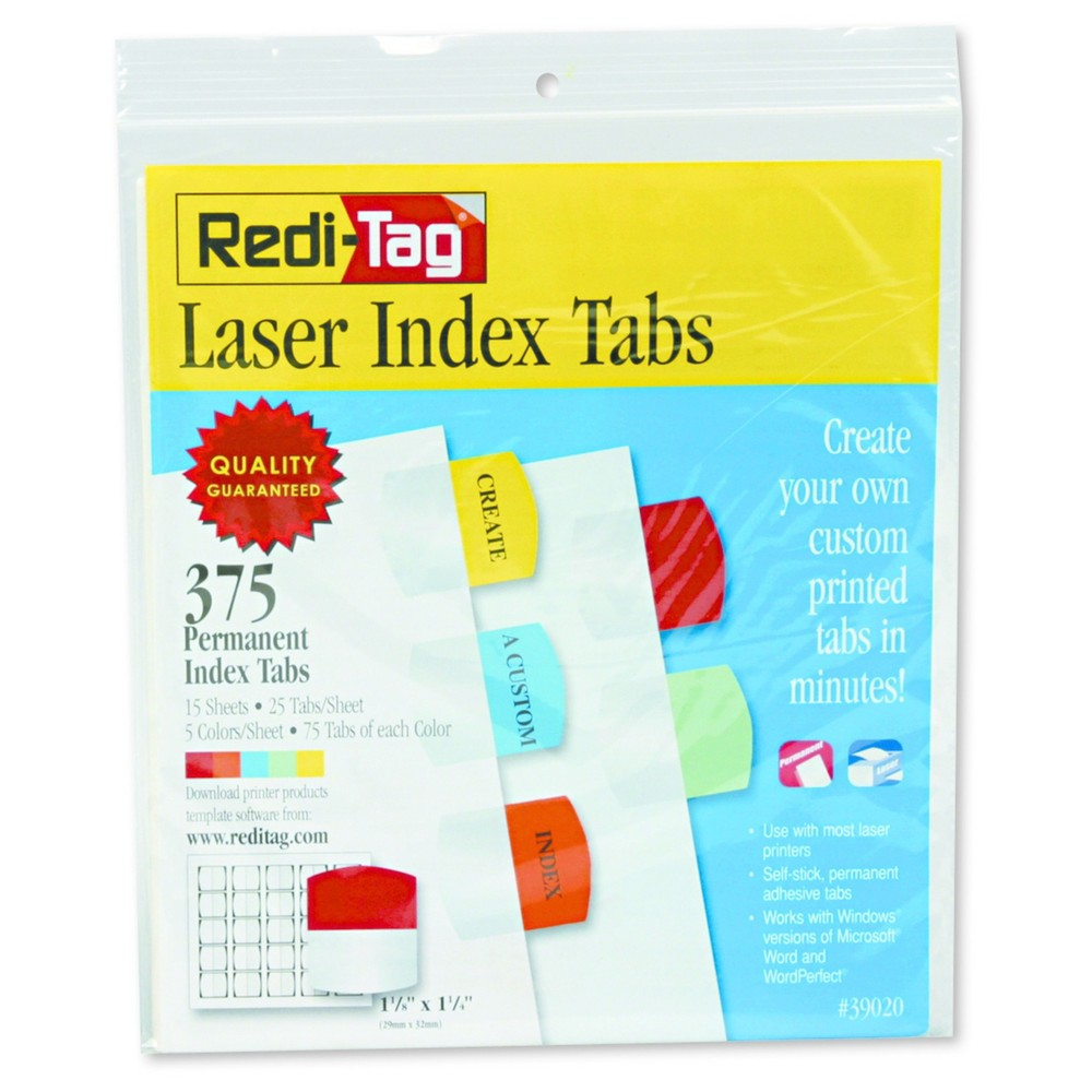 Image of Redi-Tag Laser Printable Index Tabs, 1 1/8 x 1 1/4, 5 Colors, 375/Pack