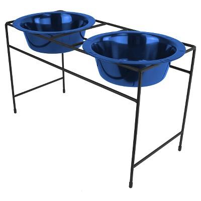Platinum Pets Modern Double Cat/Dog Bowl - Sapphire Blue - 1.25 Cup