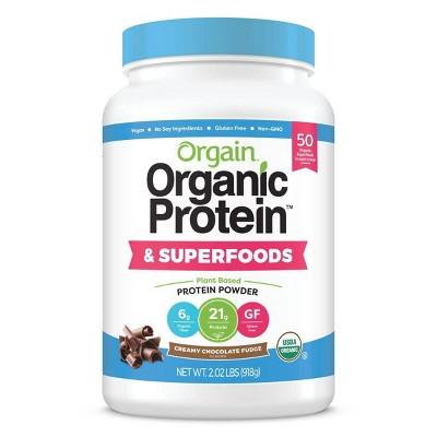 Orgain Organic Protein + Superfoods Plant Based Powder - Creamy Chocolate Fudge - 2lbs