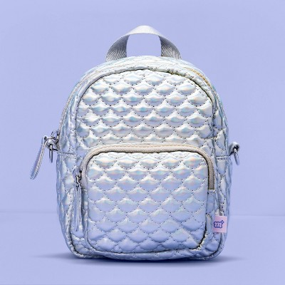 Girls' Quilted Convertible Mini Backpack - More Than Magic™ Silver