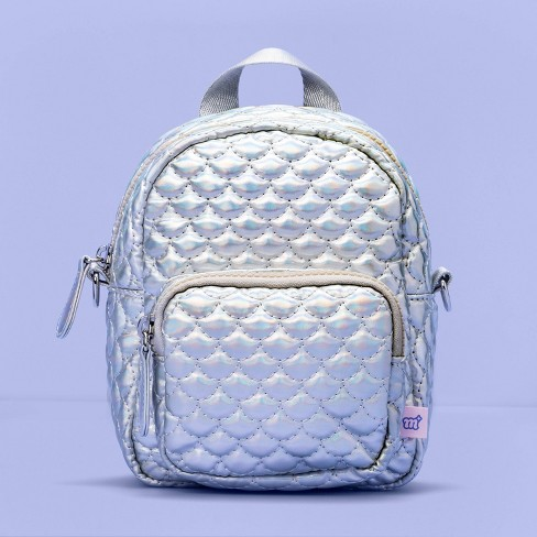 Girls' Quilted Convertible Mini Backpack - More Than Magic™ Silver - image 1 of 4