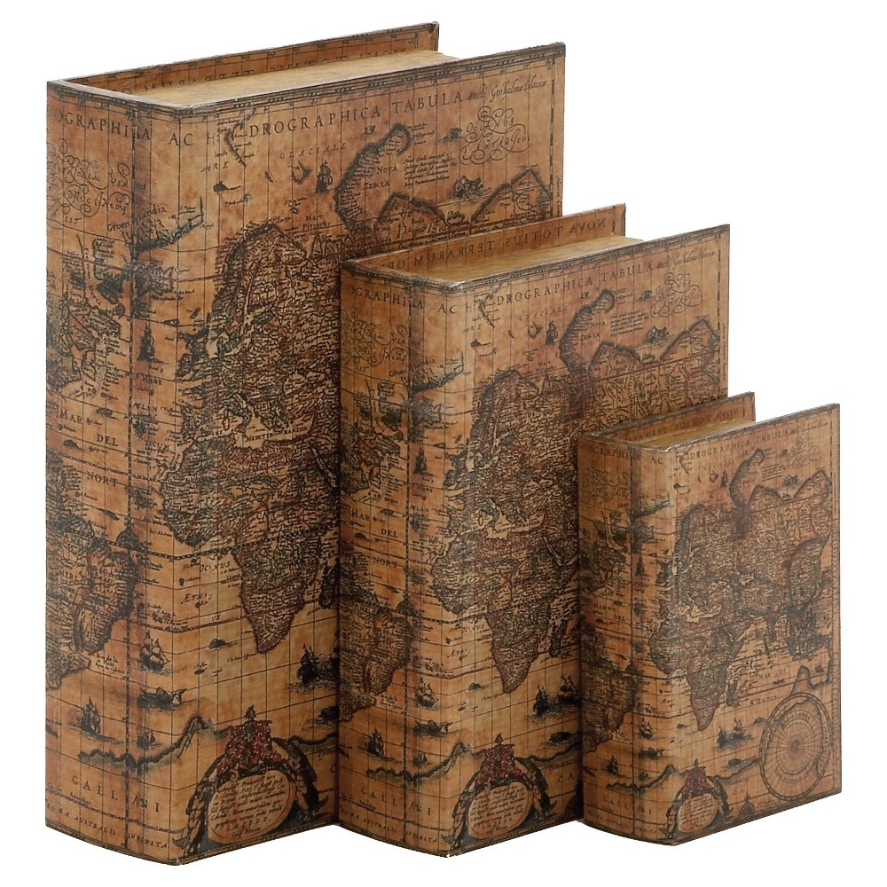 Vintage Reflections Old World Map Book-Style Storage Box Set 3ct - Olivia & May, Multi-Colored