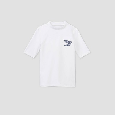 Boys' Short Sleeve Dino Chest Rash Guard Swim Shirt - Cat & Jack™ True White