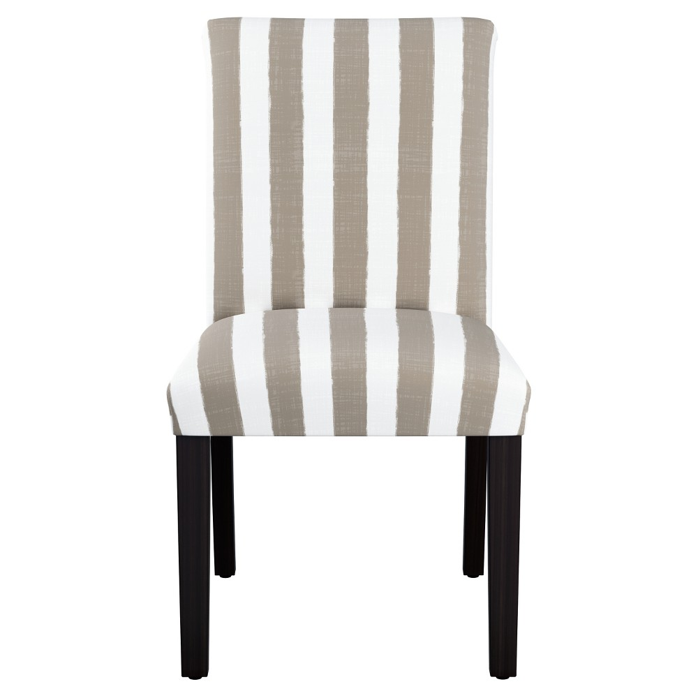 Image of Hendrix Dining Chair with Espresso Legs Taupe/White Stripe - Cloth & Co., Adult Unisex, Brush Cabana Brown