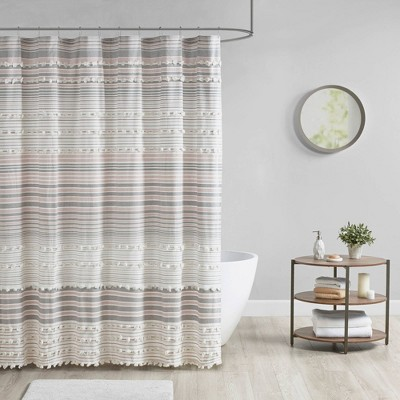 Corey Cotton Yarn Dye Shower Curtain with Pom-Poms