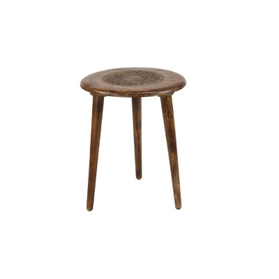 Carved Mango Wood Tripod Table Brown - Olivia & May