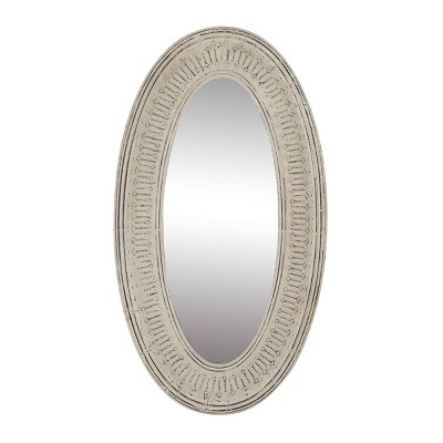 """33"""" x 60"""" Metal Oval Textured Metal Wall Mirror White - Olivia & May"""