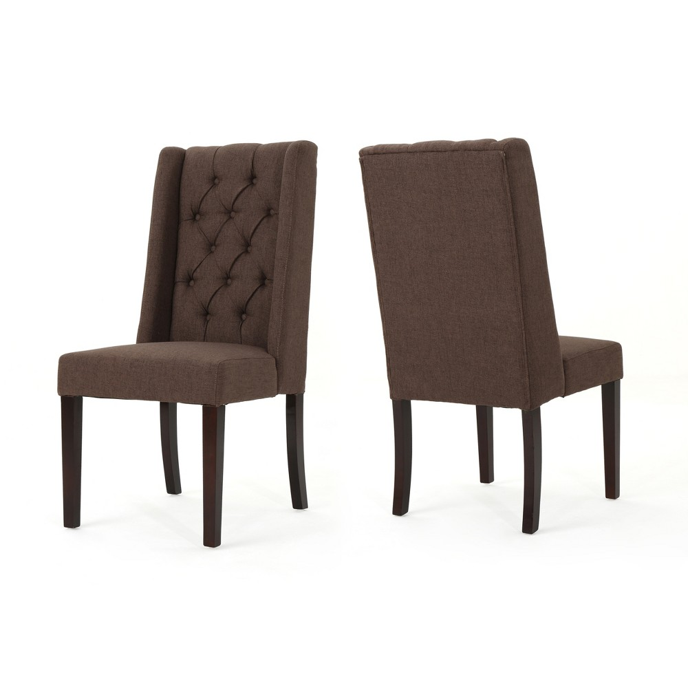 Set of 2 Blythe Tufted Dining Chairs Dark Brown - Christopher Knight Home