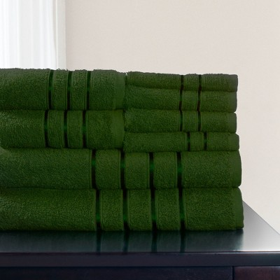 8pc Plush Cotton Bath Towels Sets Green - Yorkshire Home