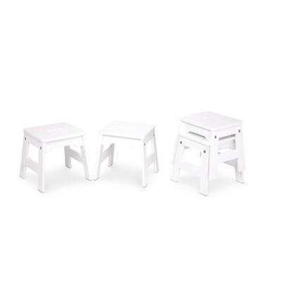 Melissa & Doug Wooden Stools - Set of 4 - White