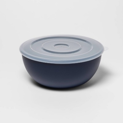 77.8oz Plastic Serving Bowl with Lid Blue - Room Essentials™