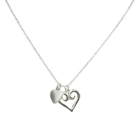 "Zirconite Heart Charms Pendant Necklace Silver - 16"" - image 1 of 1"