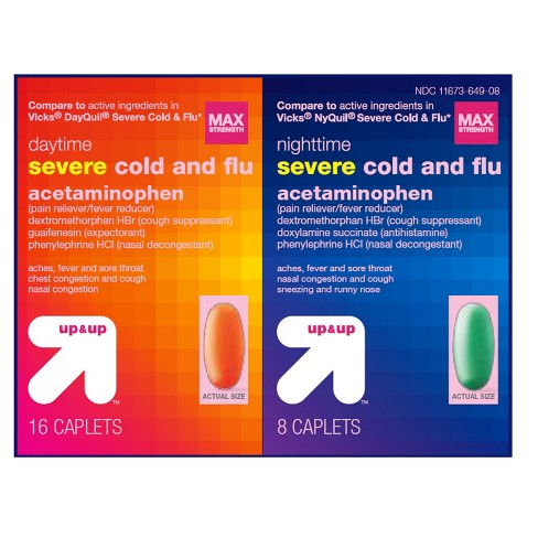 Day/Night Severe Cold & Flu Caplets 24ct - up & up™ - image 1 of 1