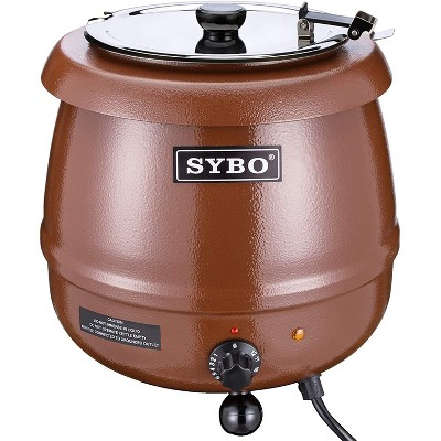 Sybo 10.5Qt Electric Soup Warmer Commercial Crock Pot Slow Cooker w/ Hinged Lid & Removable Stainless Steel Bain Marie for Restaurant/Catering, Brown