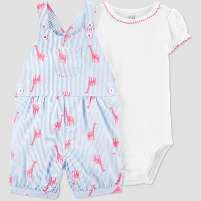 Baby Girls' 2pc Giraffe Print Shortall Set - Just One You® made by carter's White/Blue 24M