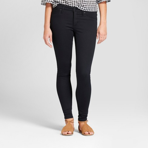 Women's Mid-Rise Jeggings - Universal Thread™ Black - image 1 of 3