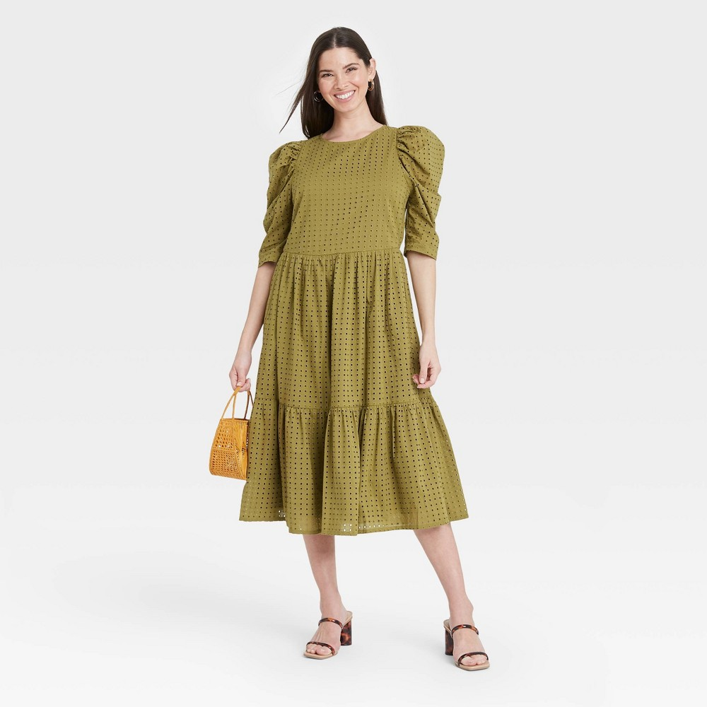 Women 39 S Elbow Sleeve Eyelet Dress A New Day 8482 Olive M