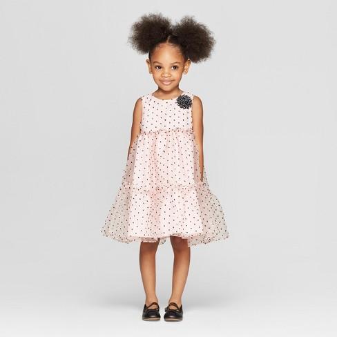 Toddler Girls' Clip Dot A line Dress - Cat & Jack™ Light Pink - image 1 of 3