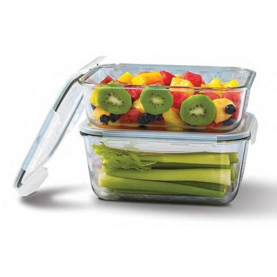 Mason Craft & More Set of 2 Rectangular Food Storage Containers with Lids