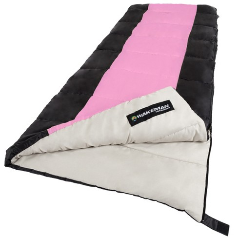 Wakeman 2 Season 25 Degree Sleeping Bag With Carrying For S And Kids Pink