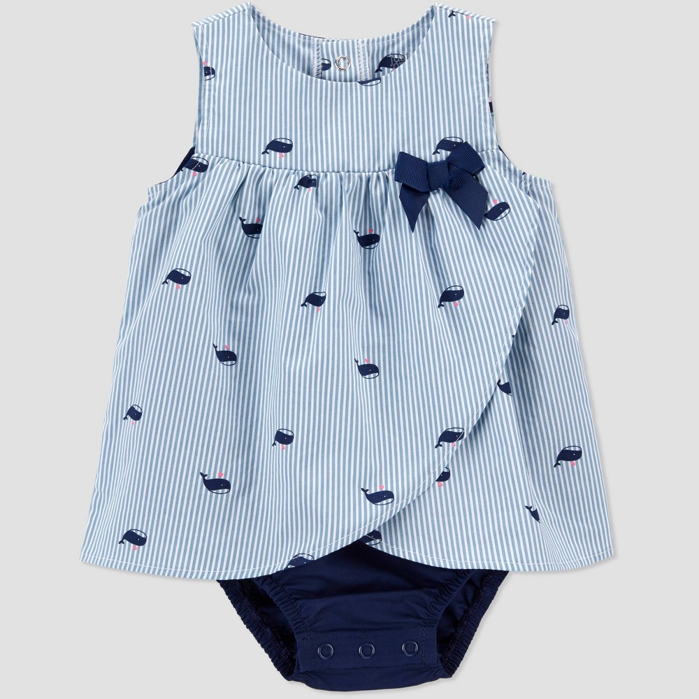 Baby Girls 39 Whale Striped Sunsuit Romper Just One You 174 Made By Carter 39 S Blue 3m
