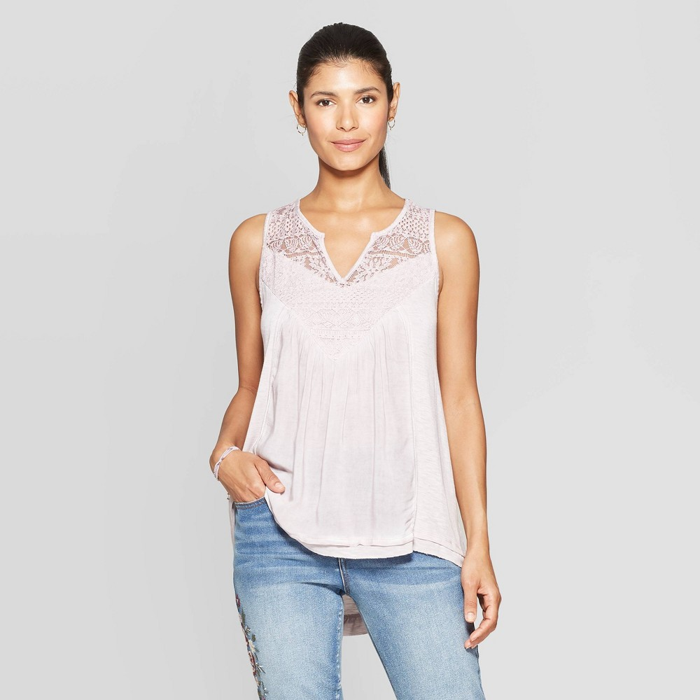 Women's V-Neck Tank Top With Lace - Knox Rose Pink 2XL