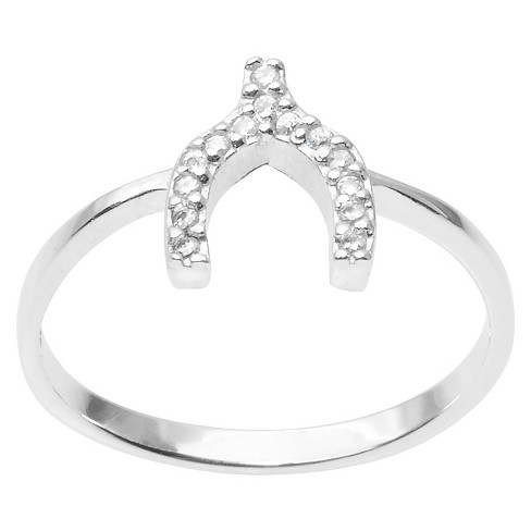 1/6 CT. T.W. Round Cut CZ Pave Set Wishbone Ring in Sterling Silver - Silver - image 1 of 2