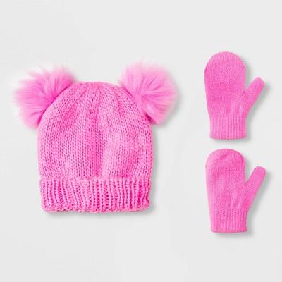Baby Girls' Knit Trapper & Magic Mittens Set - Cat & Jack™ Pink 12-24M
