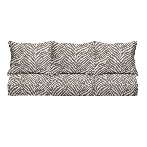 Sunbrella Indoor/Outdoor Deep Seating Pillow and Cushion Set Corded Gray Zebra - image 1 of 4