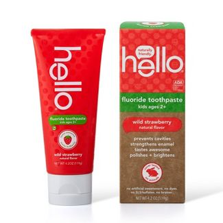 hello Kids Natural Wild Strawberry Anticavity Fluoride Toothpaste , sls Free and Vegan , 4.2oz