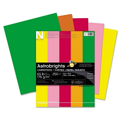 Neenah Paper Astrobrights Colored Card Stock 65 lb. 8-1/2 x 11 Assorted 250 Sheets 21003