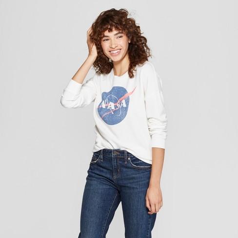 Women s NASA Graphic Pullover Sweatshirt (Juniors ) White   Target 418fdf8b74
