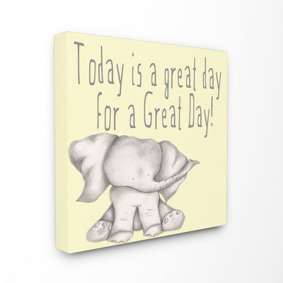 "Today Is A Great Day Elephant Stretched Canvas Wall Art (17""x17"") - Stupell Industries"